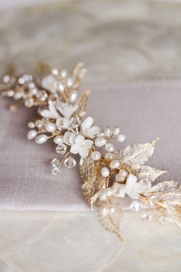 Gold leaf wedding headpiece with pearls
