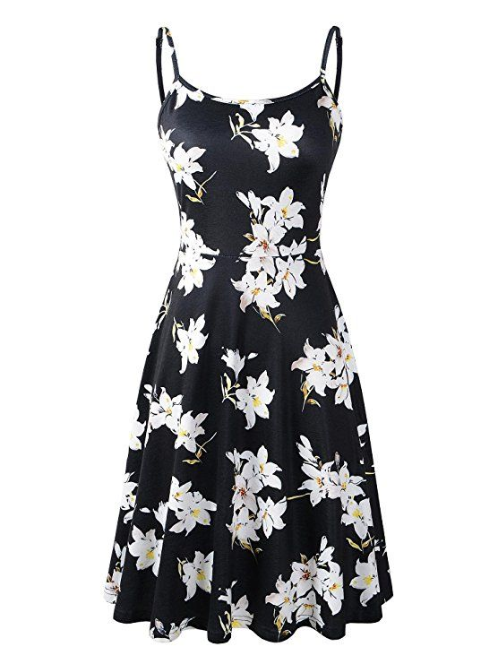 932095bf731d Luckco Women s Sleeveless Adjustable Strappy Summer Floral Flared Swing  Dress at Amazon Women s Clothing store