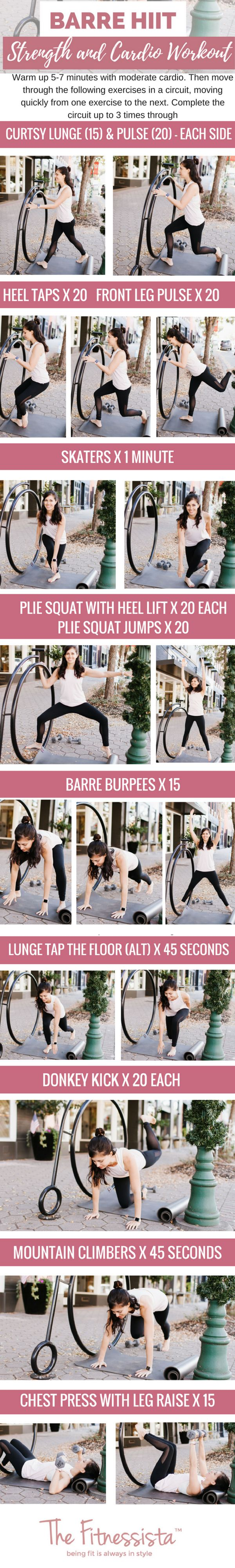 A Barre HIIT workout that combines sweaty cardio intervals with muscular endurance training. Get super lean muscles without needing to lift heavy weights! You can do this one anywhere. fitnessista.com #barreworkout #HIITworkout #athomeworkout