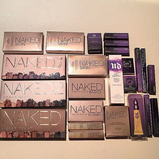 "Urban Decay. Currently I have 3-4 UD makeup products- I have the first Naked palette, ""Blackmail"" matte revolution lipstick, All Nighter Setting Spray and four wee samples of their primer potions which came as part of my naked palette."