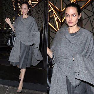 海外セレブニュース&ファッションスナップ: 【アンジェリーナ・ジョリー】スキニーさは変わらず!ロンドンにて、グレーのワントーンコーデでディナー