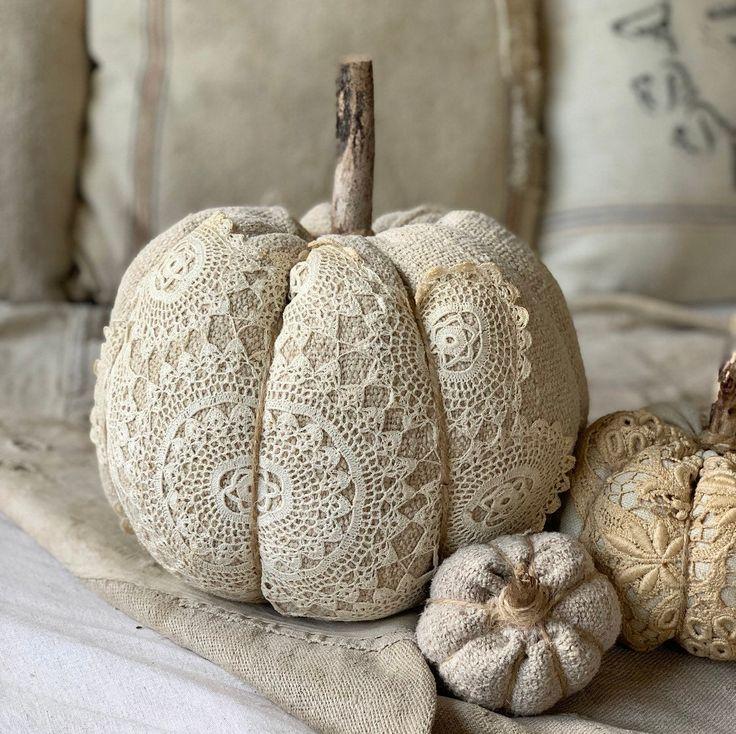 LARGE Vintage grain sack doily stuffed pumpkin/ ANTIQUE fabric pumpkin/ fall decor/ halloween/ farmhouse decor