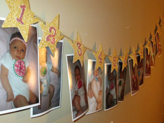 Twinkle Twinkle Little Star 12 Month Star Photo by ChevysShop, $18.00 Cute idea. Have a picture of Lyra for each month.... Hang on fence.