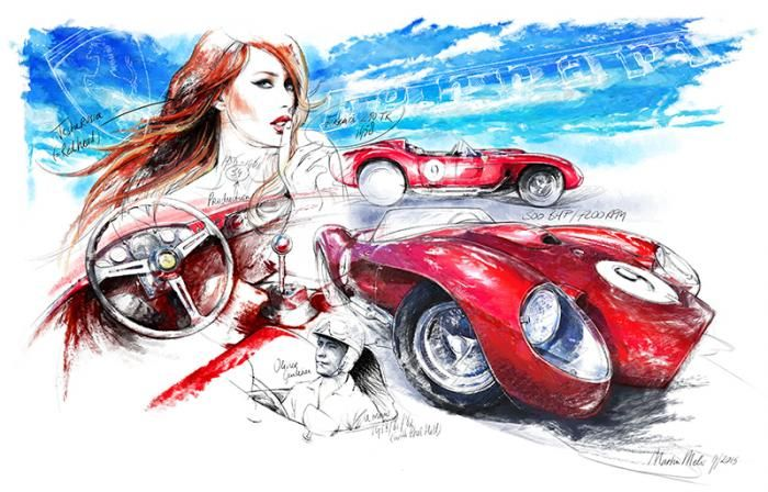 Ferrari Testarossa 250 - 1956 | Classiccar-art