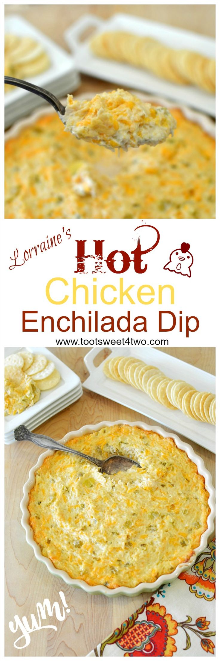 Looking for great dip recipes that are hot, easy, yummy and delicious? Look no further! Lorraine's Hot Chicken Enchilada Dip is one of those dip recipes that's gone in a flash! Guaranteed! Creamy and cheesy with a slight piquant bite from the green chilies and jalapeno, this Mexican-inspired appetizer dip is a keeper! One of the most popular dip recipes on my blog, this hot and cheesy chicken enchilada dip is also one of the best dips for parties because it is so incredibly easy to make…
