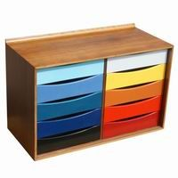Like the idea of the polished wood and drawers painted different colours. Nice!