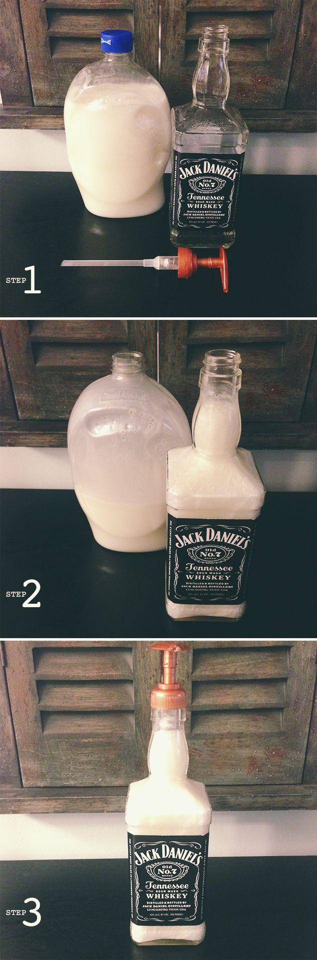 Country DIY: Jack Daniels Soap Dispenser.  Learn how to make it at http://blog.masonbelle.com