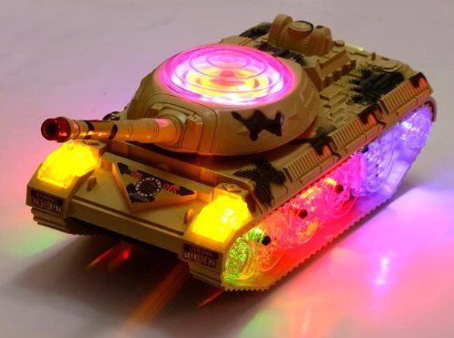 Bump and Go Action, runs on smooth surfaces * It will change directions and run when it bumps to something * LED Flashing Lights and Sound Effects * Recommended Gift for 3 Year Olds and up #Wolvol #Militarytank