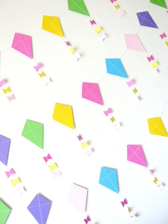 Paper kite garland nursery decor baby shower by pelemele for Decoration kite