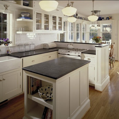 Soapstone Countertops    More Durable And More Appropriate Than Honed  Granite For A Vintage Kitchen. But Way Too Many Pendant Lights.