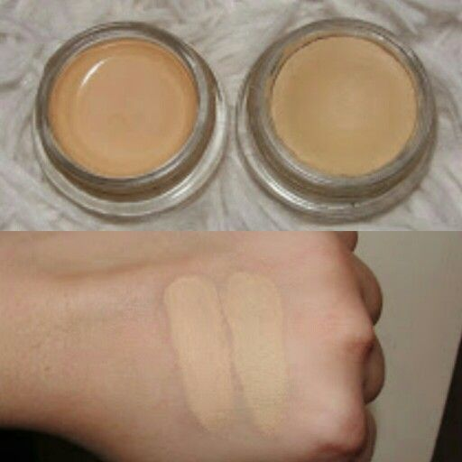 "Dupe swatches!!! Maybelline 24 tattoo eyeshadow in ""Just beige"" on the right and MAC paint pot in ""Soft Ochre"" to the left"