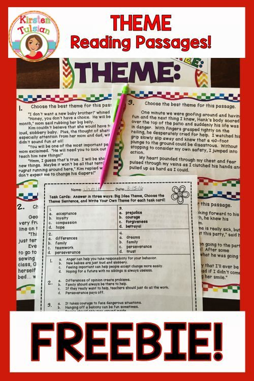 FREE!  This Theme lesson is perfect for an introduction or review practice for teaching theme.  These reading passages will challenge your 3rd-6th graders and provide you with printables that are no prep and easy to use!
