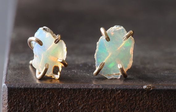 NEW from the winter LACUNA collection    simple, earthy + luxe.    natural, raw australian opals are set in handcrafted 14kt gold filled prongs in these