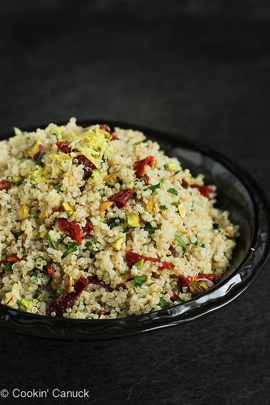 Lemon Quinoa Salad with Pistachios & Sun-Dried Tomatoes...An easy side dish with only 175 calories & 5 Weight Watchers points per serving.   cookincanuck.com #vegan #vegetarian #recipe
