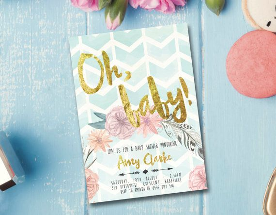 beautiful baby shower invitation design customise the wording and then download and print. Boho baby shower invitation baby shower by FrankieBearDesigns
