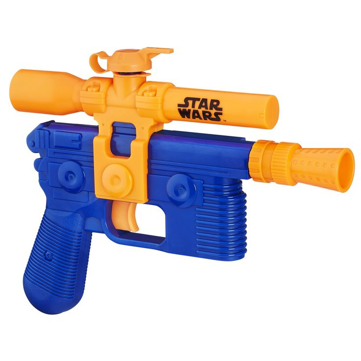 Star Wars Episode VII Nerf Super Soaker Han Solo Blaster. Take aim for soaking water battles. Tank holds up to 6.7 fluid ounces (198 milliliters) of water. Fires a stream of water up to 20 feet (6 meters). Includes 1 water blaster.