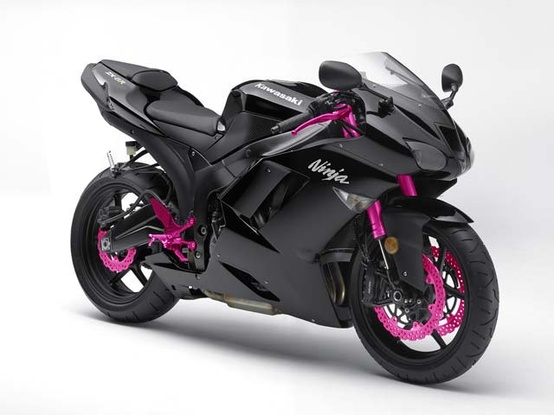 ◘black bike with pink◘ I want my new ninja like this but with red under black Or my girlfriend could ride this one