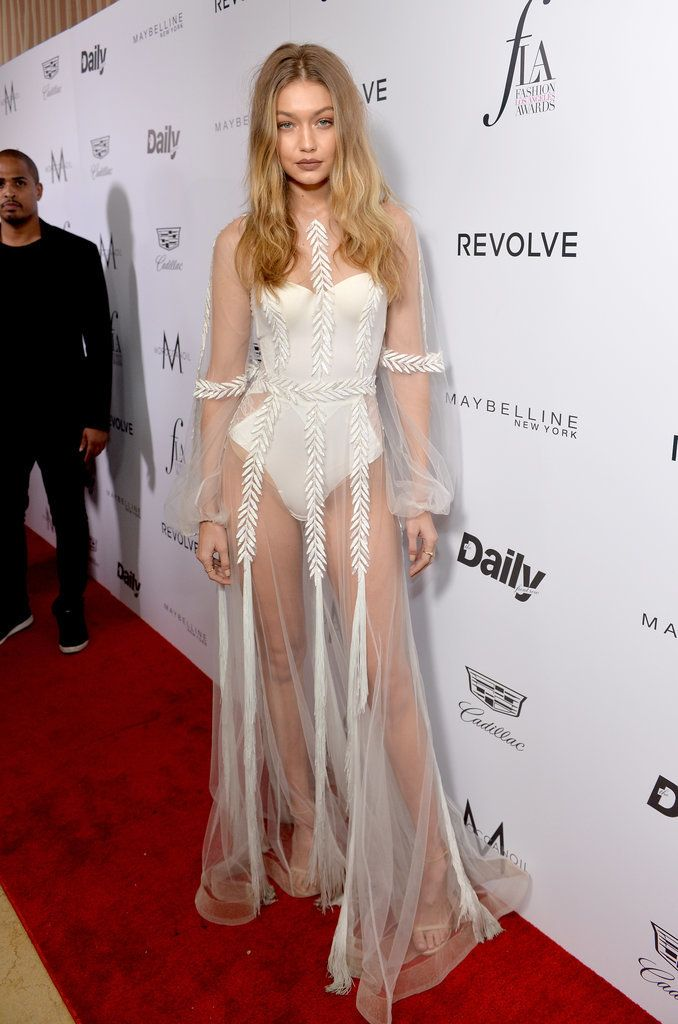 Gigi Hadid rocked a romantic naked dress on the red carpet.