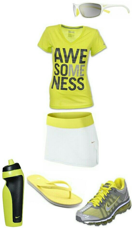 Women's fashion yellow white nike skirt outfit