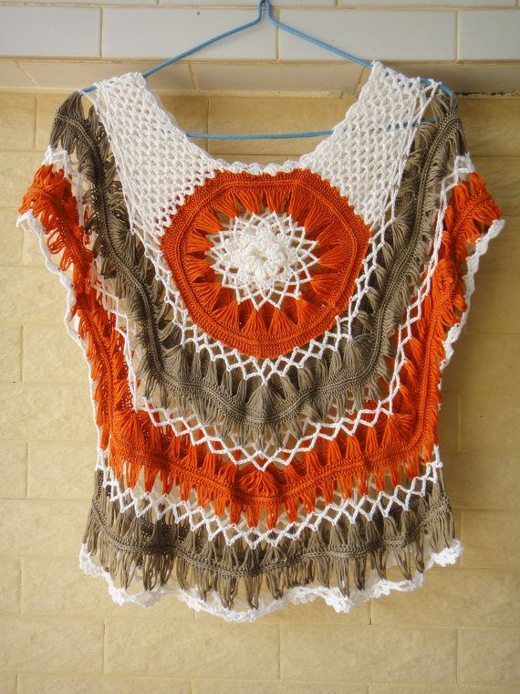 """Women Summer Floral Blouse Crochet Tops Short Sleeve Ideal for layering and creating a hippie, indie/ boho chic look, go perfectly with dress, vest, shirt, swim suit or even jeans, this floral top is a must-have for your wardrobe.  elegant floral pull-over blouse in ivory made with acrylic yarn. measured 22"""" in length."""
