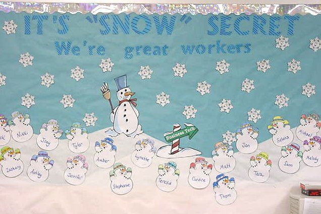winter bulletin board. See if 2A would like this for their door. LRC has snowflake die cuts.