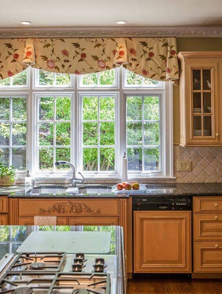 Kitchen Window With Pleated Floral Valances Top And Trendy Kitchen Valances For Your Kitchen Check more at http://www.wearefound.com/top-and-trendy-kitchen-valances-for-your-kitchen/