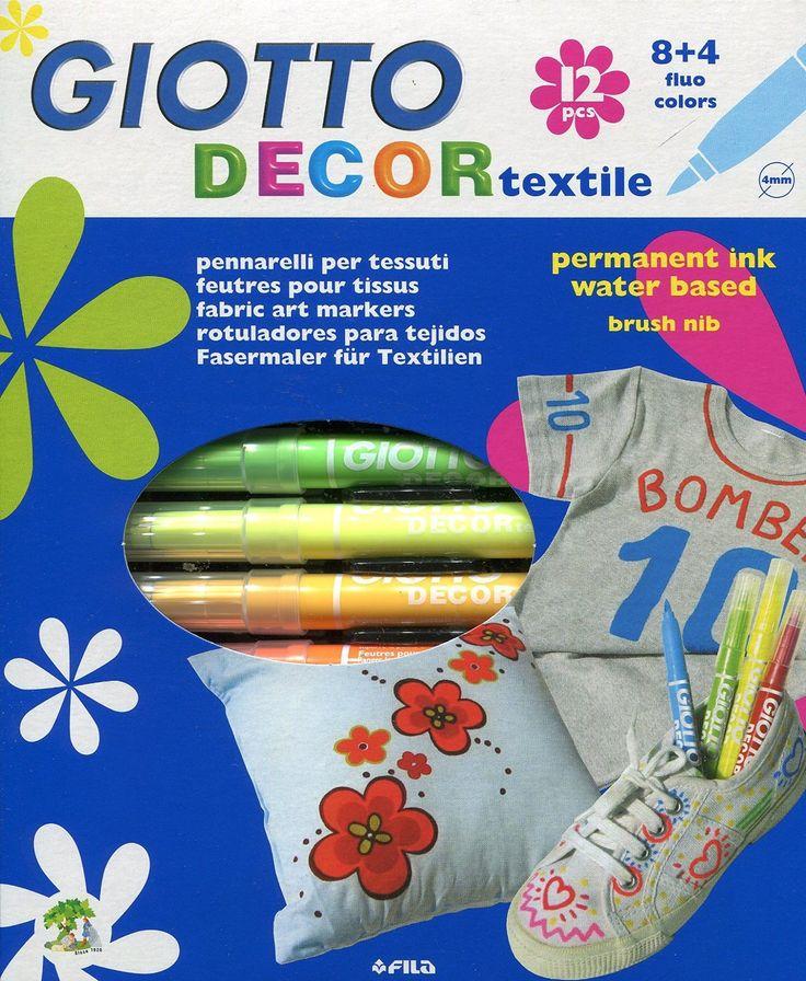 Giotto Decor Textile pennarelli per tessuti in astuccio con 8 colori standard + 4 colori fluo: euro 9,29