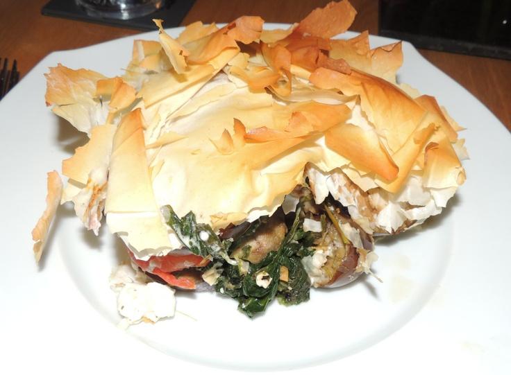 Greek filo pie with aubergine, feta and spinach @ http://saltandpepperpots.wordpress.com/2013/04/16/greek-filo-pie-with-aubergine-feta-and-spinach/