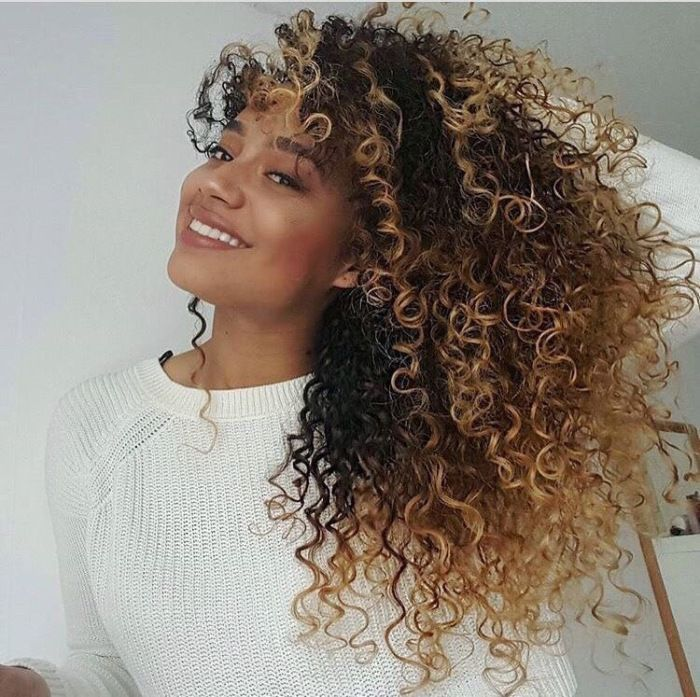 curly honey blonde perfection