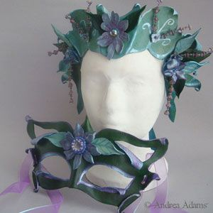 Faery Crowns   garden fairy leather mask & crown