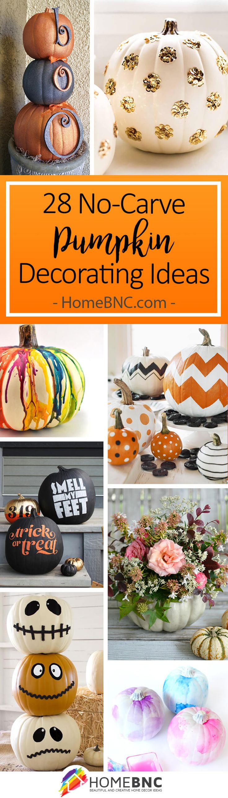 No-Carve Pumpkin Decorating Ideas. Pumpkins are all part of Halloween Decorations and here are ideas and inspiration to Make Your Own, without the mess of carving