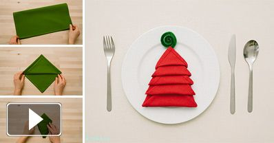 How to Make Christmas Tree Napkin Fold - DIY & Crafts - Handimania