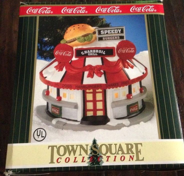 "Coca Cola Town Square ""Speedy Burger"" Christmas Lighted Ceramic Building Target"