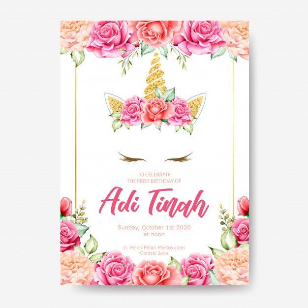 Birthday Invitation Card Template Cute Unicorn Graphic With Flower Wreath Unicorn Invitations Birthday Invitation Card Template Invitations
