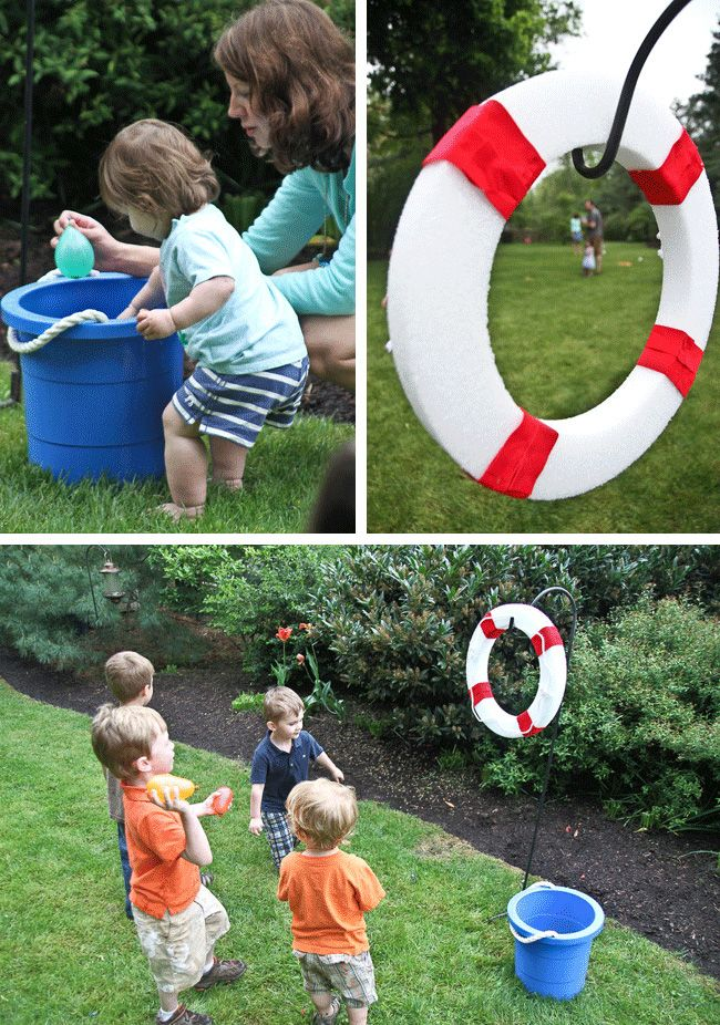 """LOVE this party game: styrofoam ring as a """"life preserver"""" target {decorate it to fit your theme} to throw water balloons thru"""