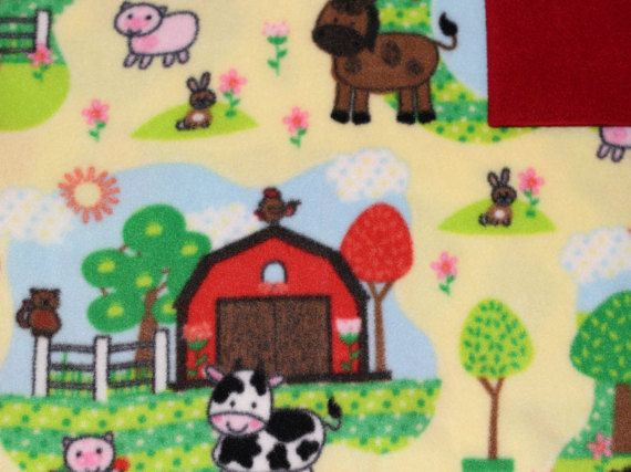 Pet Blanket with farm animal fleece! (pig, cow, rabbit, sheep, cat, horse)  Farm print on front side, solid color fleece on back. ( see options