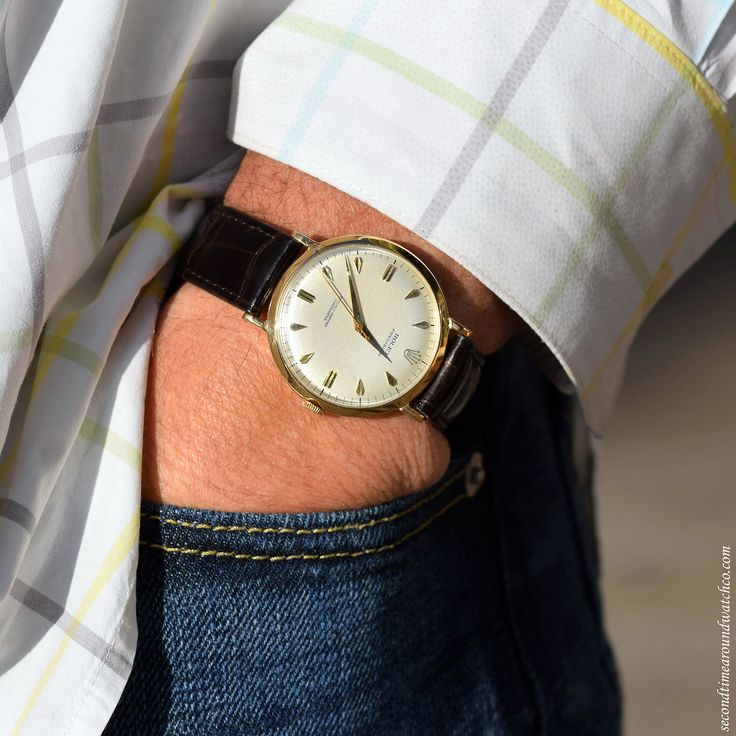 """Today on Jon's wrist: A Rolex Precision Reference 8940 with an 18K Yellow Gold case. Inscription on caseback notes that this watch commemorates """"I Congreso Panamericano Mexico"""". (Store Inventory # 11634, listed at $3900, available for purchase online..."""