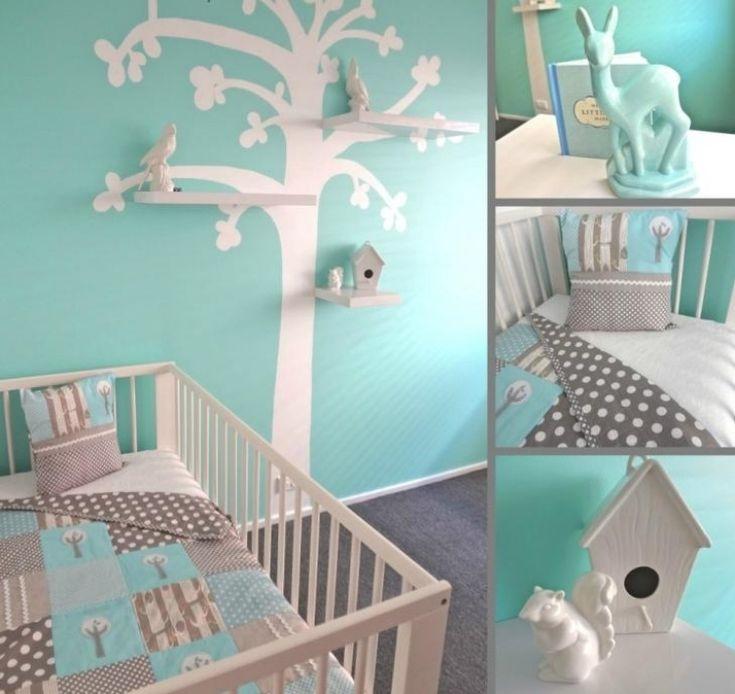 Wandfarbe Mintgrün Babyzimmer Babybett Baum Wanddeko Wandtattoo Voegel Weiss