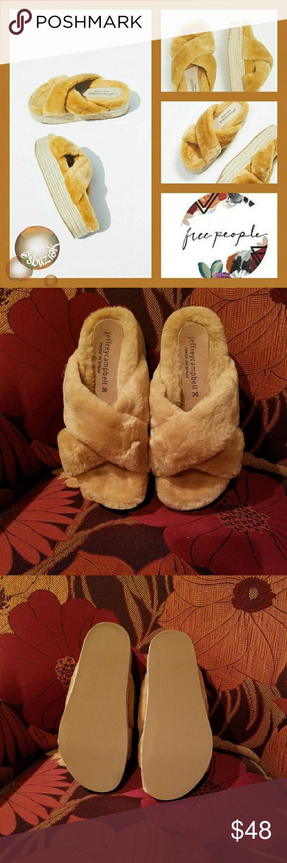 Jeffrey Campbell x FP Faux Fur Espadrille Slides Jeffrey Campbell for Free People Faux Fur Espadrille Platform Slides.  Faux Fur Upper with a traditional Espadrille Platform and durable rubber soles.  Height is approximately 1.5 inches. New with tags and box. Jeffrey Campbell Shoes Espadrilles