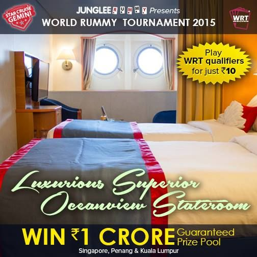 Enjoy a Luxurious stay onboard Star Cruise Gemini. Participate in World Rummy Tournament 2015! Qualifiers start at Rs.10. Play Now! #win1crore #wrt2015 #worldrummy #jungleerummy
