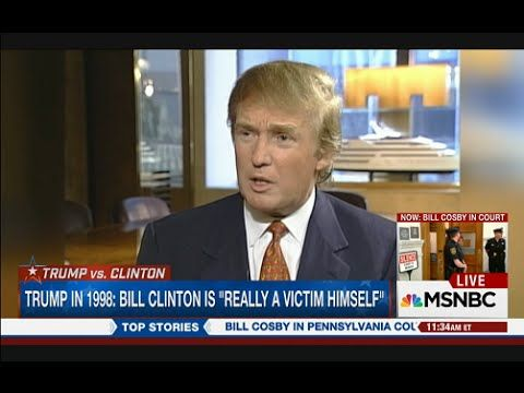 "YouTube 1998 Trump calls Paula Jones ""a loser"" and says her deposition was false.  Praises Clinton economy, says he himself is too controversial to run ""because of women."" Cut to today, 10.9.16, less than 2 hours before presidential debate, he calls photo op. for ""his debate prep"" - trots out Paula Jones and other accusers of Bill Clinton. Manipulative and petulant to the end."