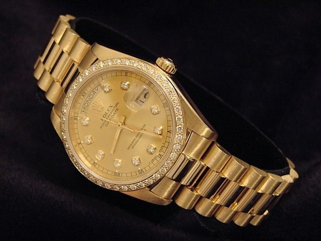 Mens Rolex Solid 18k Yellow Gold Day Date President w/Diamond Dial & Bezel 18038  | eBay