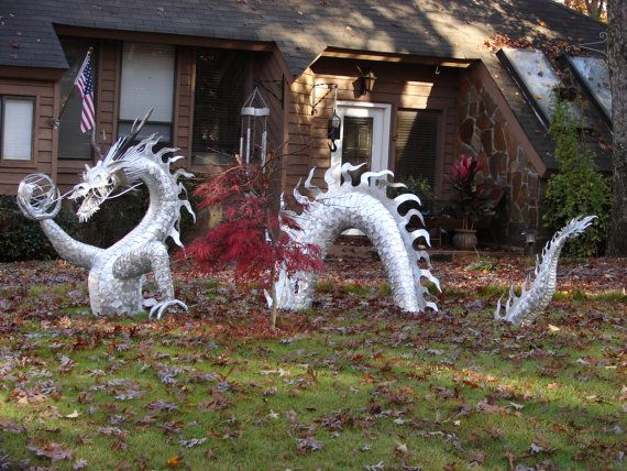 Aluminum metal dragon sculpture by jwoodmetalart on etsy