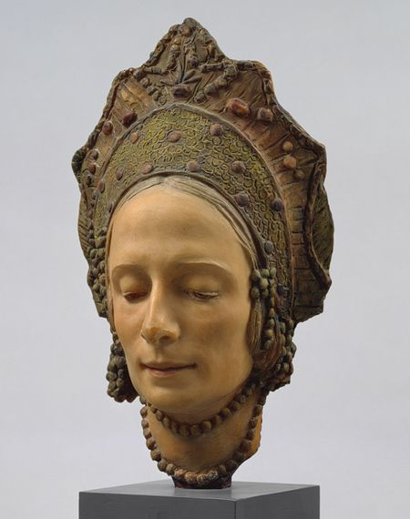 Mask of Anna Pavlova, 1924  Malvina Cornell Hoffman (American, 1885–1966)  Wax, tinted   This portrait of the Russian-born ballerina Anna Pavlova (1881–1931), made from a life mask, creates the sense of a living, breathing woman, an impression intensified by the colored features. The lowered eyes and closed mouth, however, hint at death—of the transcendence of this mortal life.