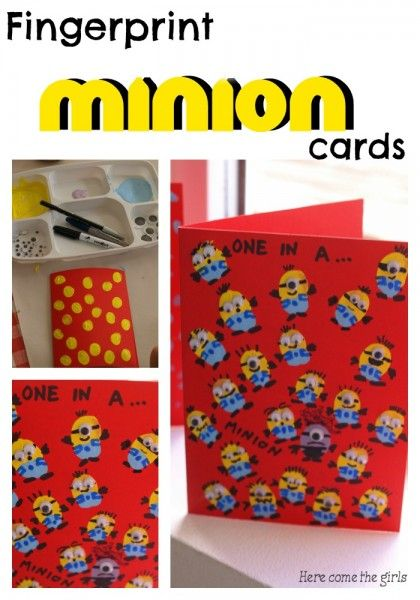 Fingerprint Minion Card - A fun craft for kids which makes a cute card suitable for all occasions