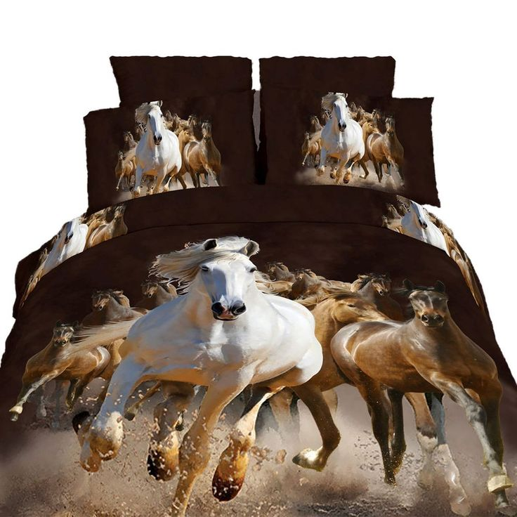 King Size Duvet Cover Sheets Set, Equestrian Stallions
