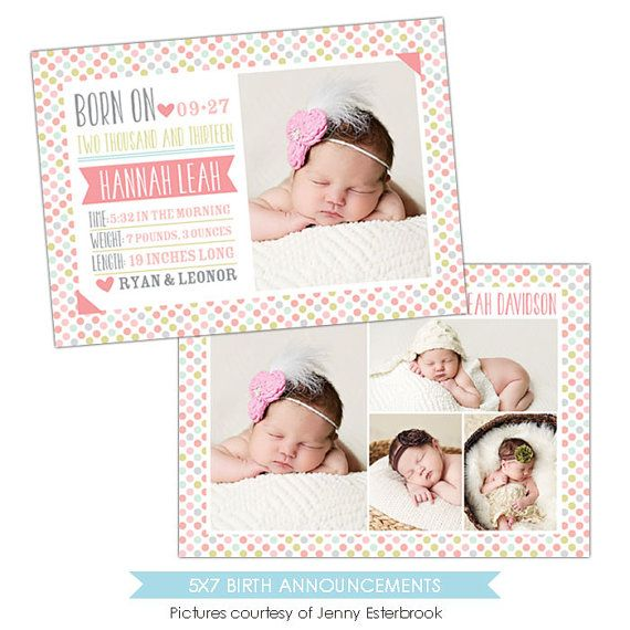 Birth announcement template   Candy dots   E901 by birdesign, $8.00