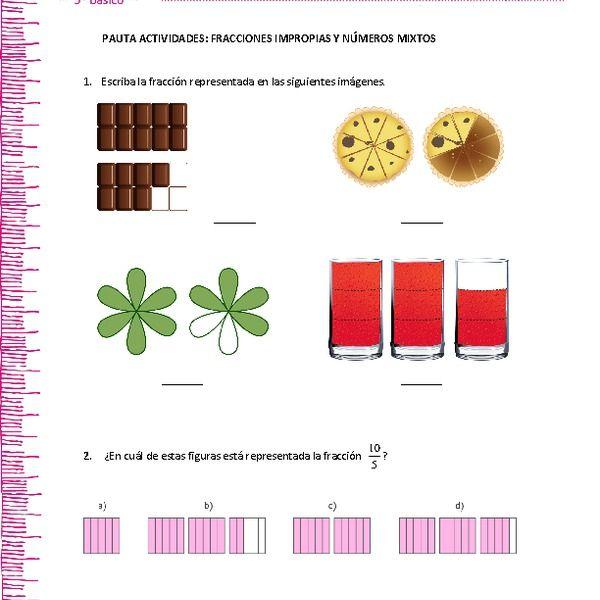 Fracciones Impropias Y Numeros Mixtos Fracciones Impropias Fracciones Fracciones Mixtas A Impropias