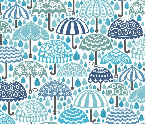 I'll hold the umbrella, you hold me - vintage brollies in downpour by: christinewitte