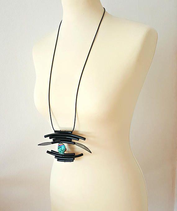 Long statement necklace Pendant modern necklace Evil eye